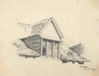 M. Bartlett - Set of Three 1870 Graphite Drawings, Doorways and Windows