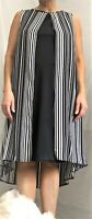 ex-Wallis 2-tier Summer Dress Striped Black/White Sleeveless UK Plus Sizes to 26