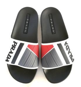 Prada Logo Embossed poolside Slides Sandals linea rossa Rubber White