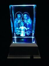 3D Laser Etched Crystal Block With 4 Lights LED Light base-Holy Family