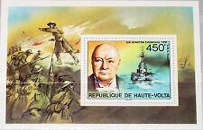 Upper VOLTA Alto Volta 1975 blocco 30 S/S 351 Winston Churchill Warship WWII MNH
