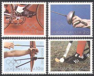 Yugoslavia 1980 Olympic Games/Olympics/Cycling/Archery/Sports 4v set (n21709)