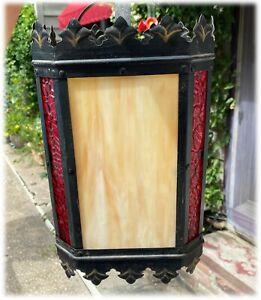 Vtg Spanish Revival Gothic Hanging Light Fixture 8 Sides Caramel Slag Glass