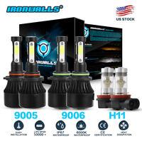 9005 9006 H11 Combo LED Headlight Conversion Kits Fog Bulb 6000K White High Low