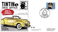 "FDC BELGIUM ""TINTIN & Friends - CAR / LINCOLN ZEPHYR - Captain HADDOCK"" 2014"
