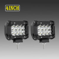2pcs 4inch 240W LED Work Light Bar Pods 30° Spot Tri-Row Driving Lamp 12V