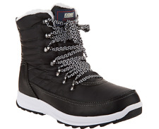 Khombu Waterproof Lace-up Ankle Boots - Alegra Black Women's Size 9W Wide New