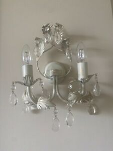 Four cream WALL LIGHTS 4 matching glass crystals double / two bulb shabby chic