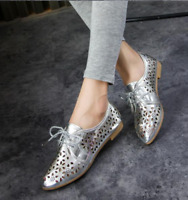 Womens Pointy Toe Lace Up Oxford Pu Leather Loafer New Hollow Flat Heel Shoes