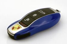 PORSCHE Blue Remote Key Cover Case Skin Shell Cap Fob Protection Hull Trim 991 -