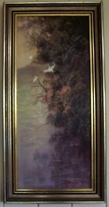 Vintage Oil Painting of Herons  by Listed Artist , Steven Deutscher , born 1947