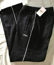 FILA WOMENS SOFT FLEECY TRACKPANTS WITH WHITE PIPING BLACK SIZE XLARGE BRAND NEW