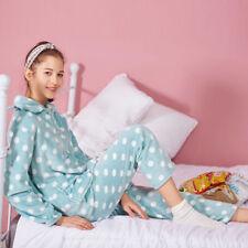 Damen Hell Grün Flanell Schlafanzug Flauschiger Revers Nachtshirt+Hosen Dicker