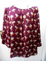 Bird Print Tunic Top Size 16 Blouse Tunic Career Office Smart Casual Summer