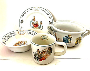 Childs Wedgewood Peter Rabbit China 3 Pieces + Beatrix Potter Handled Bowl 1999