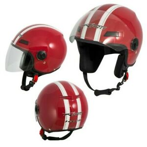 Helmet Jet Scooter Motorcycle Quad Approved Ece 22 05 Visor Red Sonicmoto