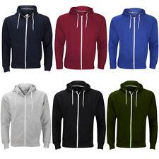 Mens Zip Up Hoodie Plain American Fleece Sweatshirts Jumpers Big Sizes 3XL - 5XL