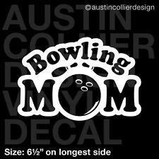 "6.5"" BOWLING MOM vinyl decal car window laptop sticker - bowl league team gift"