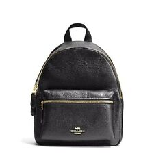 NEW COACH (F38263) BLACK MINI CHARLIE PEBBLED LEATHER BACKPACK BAG