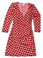 Charming Charlie Red White Faux Wrap Dress Knee Length Size M NWT