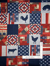 Farm Animals Patriotic Americana Block Cotton Fabric Robert Kaufman - Yard