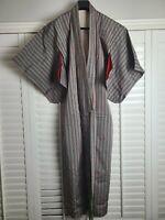 Vintage Kimono Traditonal Japanese Jacket Robe Geisha Green Striped Lined
