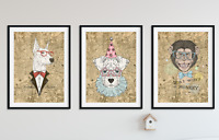 Hipster Animal Prints on Antique Digital London Map / Wall Art Pictures