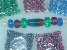 Blue Purple Teal Handmade Lampwork Glass Crystal Seed Bead Lot 4042