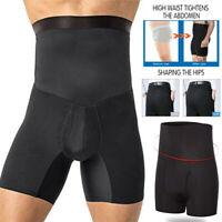 US Men's Compression High Waist Boxer Shorts Tummy Slim Body Shaper Girdle Pants