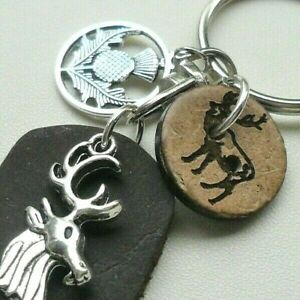 KEYRING Bag Charm Black Leather Tag STAG Coconut Button Scottish THISTLE   K3775