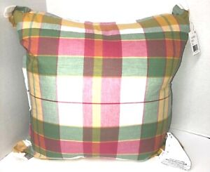 Ralph Lauren Liana Madras 20 x 20 Pillow Green, Yellow, Pink Plaid