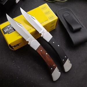 "8.6"" BUCK 110 knives 440C blade Wood handle tactical pocket fold knife EDC"