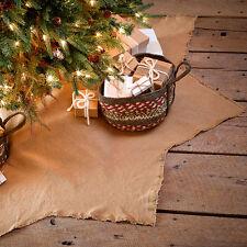 "BURLAP NATURAL CHRISTMAS TREE SKIRT 48"" DIAMETER COTTON WOVEN INTO BURLAP"