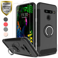 For LG G8 ThinQ Shockproof Case Cover With Ring Holder Stand+Screen Protector