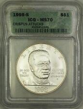 1998-S Crispus Attucks Silver Commemorative $1 Coin ICG MS-70 PERFECT GEM