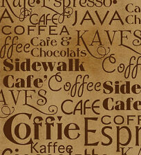 Dark Brown Coffee Text on Brown, Daily Grind, Quilting Treasures  (By 1/2 yd)