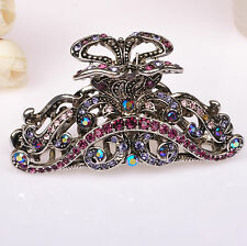 Metal Hair Claw Purple Diamante Rhinestone Antique Silver Hair Clip Claw Clamp