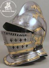 Burgonet helmet medieval ancient armour helmet with brass bidding 18GA