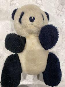 Vintage Gund Design 1987 White And Black Panda Bear Posable Hand Stitched Nose