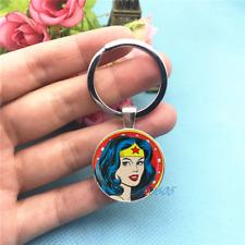 Wonder Woman Superhero Tibet Silver Key Chain Rings Glass Cabochon Keychains