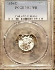 1936-D PCGS Silver Mercury Dime MS67FB, 1 COINs, GEM, FULL BANDS!
