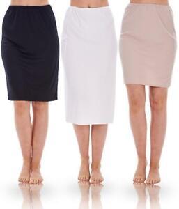 Ladies Plain Waist Half Slip Womens Underskirt Petticoat