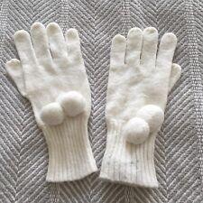 Moda International White Gloves Angora Rabbit Hair Blend Super Soft Warm EUC OS