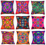 16x16'' Zip Cushion Cover 40cm  Art Silk Multi Colour Indian Embroidered Floral
