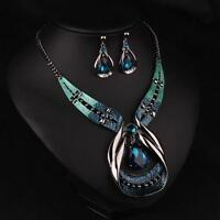 Women Blue Crystal Choker Chunky Statement Chain Bib Necklace Earrings Jewelry