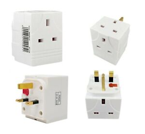 3-Way Uk Mains Surge Protected Switched 13a Adapter/Individually Triple Switched