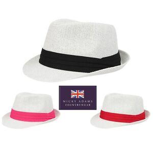 Straw Sun Hat Trilby Mens Ladies UV Summer Beach Holiday Black Navy Light NEW