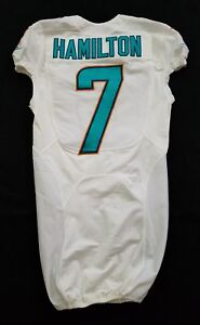 #7 Hamilton of Miami Dolphins NFL Game Issued Player Worn Jersey w/50th Patch