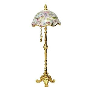 Dollhouse Miniature Tiffany Style Floor Lamp With Paisley Shade By Reutter