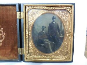 Antique Civil War Era Soldier Daguerreotype in Hinged Thermoplastic Union Case